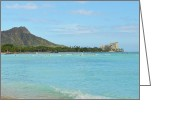 Diamond Head Greeting Cards - Diamond Head of Waikiki Oahu Hawaii Greeting Card by Eva Kaufman