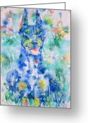 Dobermann Greeting Cards - DOBERMAN in the GRASS - watercolor portrait Greeting Card by Fabrizio Cassetta