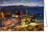 Featured Greeting Cards - Dock Builders Greeting Card by George Wesley Bellows