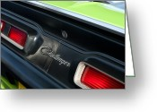 American Vintage Greeting Cards - Dodge Challenger 440 Magnum RT Taillight Emblem Greeting Card by Jill Reger