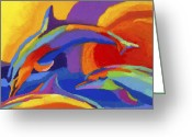 Marine Animals Greeting Cards - Dolphin Dance Greeting Card by Stephen Anderson