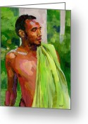 Figurative Greeting Cards - Dominican Boy with Towel Greeting Card by Douglas Simonson