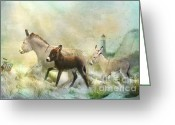 Burro Greeting Cards - Donkies Day Off Greeting Card by Trudi Simmonds