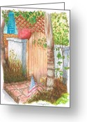 Vertical Painting Greeting Cards - Door-with-flag-venice-california Greeting Card by Carlos G Groppa