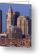 Boston Massachusetts Skyline Skyscrapers Building Office Towers Structures Water Harbor Harbour Reflect Reflection Reflecting Sea Bay Rowes Wharf Tall  Waterfront Day Daytime City Urban New England Greeting Cards - Downtown Boston with Sail Boats Greeting Card by Juergen Roth