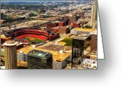 Baseball Photographs Greeting Cards - Downtown St. Louis On A Warm Summer Day Greeting Card by Thomas Woolworth