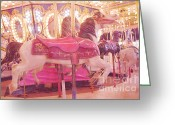 Baby Room Photo Greeting Cards - Dreamy Baby Pink Carousel Horses Carnival Art Greeting Card by Kathy Fornal