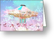 Baby Room Photo Greeting Cards - Dreamy Baby Pink Ferris Wheel Festival Ride Greeting Card by Kathy Fornal
