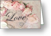 Chic Greeting Cards - Dreamy Cottage Shabby Chic Roses Heart Love Greeting Card by Kathy Fornal