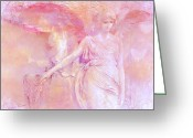 Pink Framed Prints Greeting Cards - Dreamy Ethereal Pink Angel Art With Hearts Greeting Card by Kathy Fornal