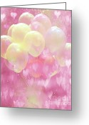 Kid Photo Greeting Cards - Dreamy Fantasy Surreal Yellow Balloons With Pink Hearts  Greeting Card by Kathy Fornal