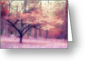 Autumn Scenes Greeting Cards - Dreamy Surreal Ethereal Trees Nature Landscape Greeting Card by Kathy Fornal
