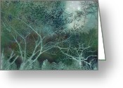Digital Surreal Art Greeting Cards - Dreamy Surreal Fantasy Teal Trees Nature  Greeting Card by Kathy Fornal