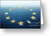 International Crisis Greeting Cards - Drifting Europe Greeting Card by Carlos Caetano