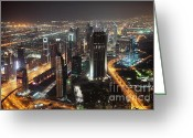 Sheikh Greeting Cards - Dubai aerial Skyline at night Greeting Card by Fototrav Print