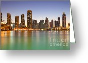 Souk Greeting Cards - Dubai Night Sunset City skyline  Greeting Card by Fototrav Print