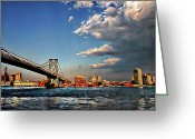Brooklyn Bridge Mixed Media Greeting Cards - East River Greeting Card by Leon Pinkney