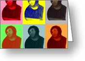 News Mixed Media Greeting Cards - Ecce Homo - Warhol Style Greeting Card by Sam Mart