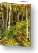 Washington Pastels Greeting Cards - Edge of the Woods Greeting Card by Mary McInnis