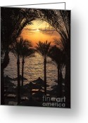 Sun Umbrella Greeting Cards - Egypt sunrise Greeting Card by Jane Rix