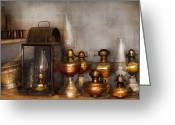 Hurricane Lamps Greeting Cards - Electrician - A collection of oil lanterns  Greeting Card by Mike Savad
