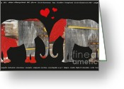 Barn Mixed Media Greeting Cards - Elephant Alphabet Love Greeting Card by Anahi DeCanio