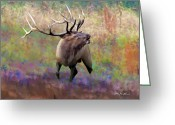 Elk Greeting Cards - Elk Art - Intensity Greeting Card by Elk Artist Dale Kunkel