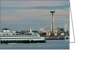 Seattle Skyline Greeting Cards - Elliot Bay with Seattle skyline Greeting Card by Chaline Ouellet
