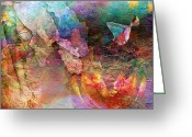 Gold Mixed Media Greeting Cards - Elusive Dreams Part Two Greeting Card by Photodream Art