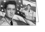 4th Greeting Cards - Elvis Patriot bw signed Greeting Card by Andrew Read