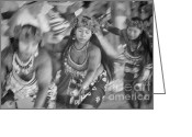 Costumes Greeting Cards - Embera Villagers in Panama as black and white Greeting Card by David Smith