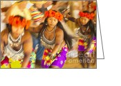 Costumes Greeting Cards - Embera Villagers in Panama Greeting Card by David Smith