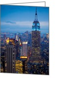 Center Greeting Cards - Empire State by Night Greeting Card by Inge Johnsson