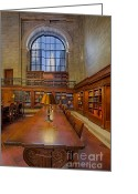 Rose Main Reading Room Greeting Cards - Empire State View From the NYPL Greeting Card by Susan Candelario