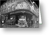 Manhattan Street Scenes Greeting Cards - Ernst Roebers Saloon - Manhattan - 1908 Greeting Card by Daniel Hagerman