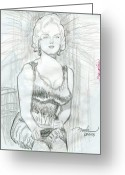 Featured Drawings Greeting Cards - Estoy aqui arriba Greeting Card by Horacio Prada