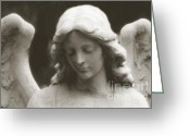 Angel Statue Greeting Cards - Ethereal Dreamy Guardian Angel Art Wings and Face Greeting Card by Kathy Fornal
