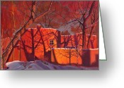 Woods  Greeting Cards - Evening Shadows on a Round Taos House Greeting Card by Art West
