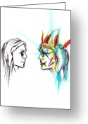 Guardian Angel Drawings Greeting Cards - Face to Face Greeting Card by Andrea Carroll
