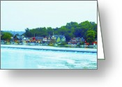 Boathouse Row Philadelphia Greeting Cards - Fairmount Dam with Boathouse Row in Philadelphia Greeting Card by Bill Cannon