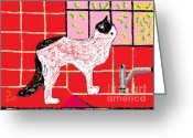 Pet Portrait Artists Greeting Cards - Fantasia on the Kitchen Counter Greeting Card by Anita Dale Livaditis