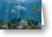 Tropical Fish Greeting Cards - Fantasy reef Greeting Card by Carey Chen