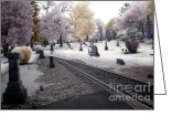 Scary Surreal Fantasy Art Greeting Cards - Fantasy Surreal Infrared Graveyard Railroad Tracks Greeting Card by Kathy Fornal