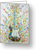 Fender Stratocaster Greeting Cards - FENDER STRATOCASTER - watercolor portrait Greeting Card by Fabrizio Cassetta