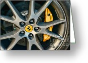 High Wheel Greeting Cards - Ferrari Close up of Wheel Greeting Card by Paul Ward
