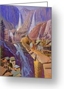 Cliff Painting Greeting Cards - Fibonaccis Stairs Greeting Card by Art West