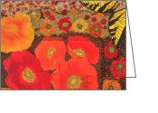 Textile Art Tapestries - Textiles Greeting Cards - Field of Poppies Greeting Card by Patty Caldwell