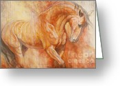 Horses Greeting Cards - Fiery Spirit - Original Greeting Card by Silvana Gabudean