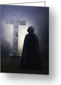Churchyard Greeting Cards - Figure On Graveyard Greeting Card by Joana Kruse