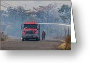 Attending Greeting Cards - Fire engine fighting a small fire Greeting Card by Craig Lapsley